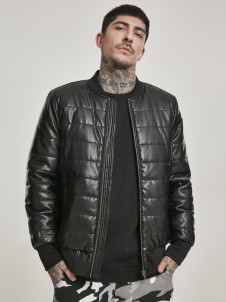 TB 3161 Faux Leather Bubble Bomber Black