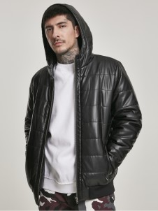 TB 3162 Hooded Faux Leather Bubble Black