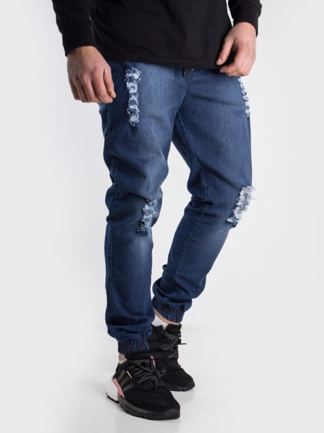 Shield Leather Jogger Domage Washed