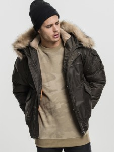 TB 1809 Heavy Fake Fur Bomber Dark Olive