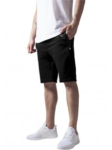 Side-Zip Leather Imitation Sweatshorts Black
