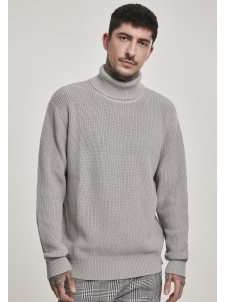 Cardigan Stitch Roll Neck Grey