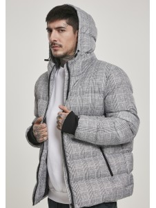 Hooded Check Puffer White/Black