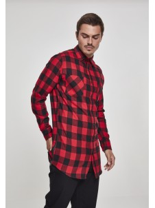 Side-Zip Long Checked Flanell Black/Red