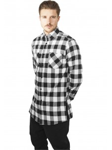 Side-Zip Long Checked Flanell Black/White
