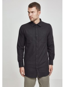 Side-Zip Long Checked Flanell Black