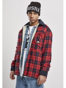 Check Flannel Sherpa Jacket Red