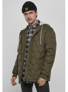 Quilted Hooded Dark Olive