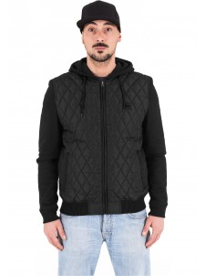 Hooded Diamond Quilt Nylon Black