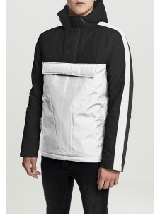 3-Tone Padded Pull Over Hooded Jacket wht/blk/blk L