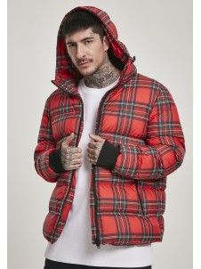 Hooded Check Puffer Red/Black