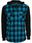 TB 513 Hooded Checked Flanell Turquse