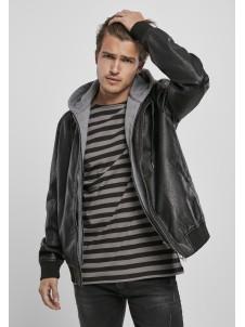 Fleece Hooded Fake Leather Black/Grey