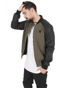 Cotton Bomber Leather Imitation Olive/Black