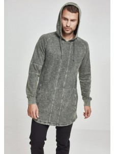Terry Acid Washed Long Shaped Hoody olive L
