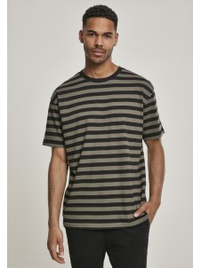 TB2879 Oversized Yarn Dyed Bold Stripe Olive/Black