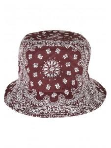 Bandana Print Bucket Hat Cherry/White