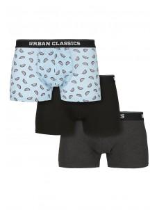 Boxer Shorts 3-Pack melon aop+cha+blk L