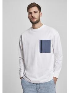Longsleeve Boxy Big Contrast Pocket White