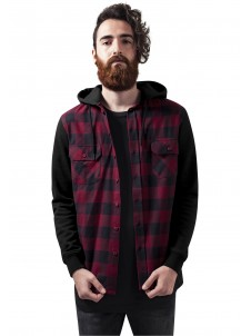 Hooded Checked Flanell Sweat Sleeve Black/Burgundy