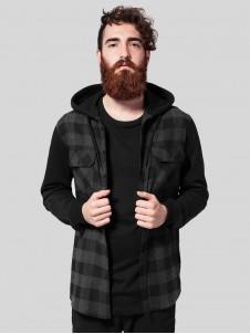 TB 513 Hoded Flanell Charcoal/Black