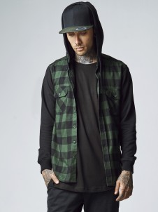 TB 513 Hoded Flanell Forest/Black