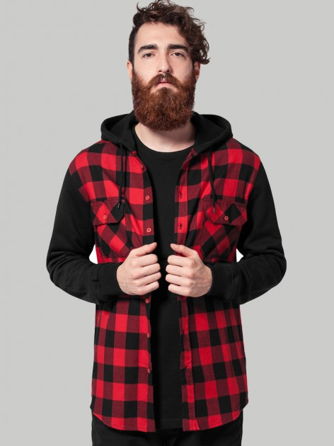TB 513 Hoded Flanell Red/Black